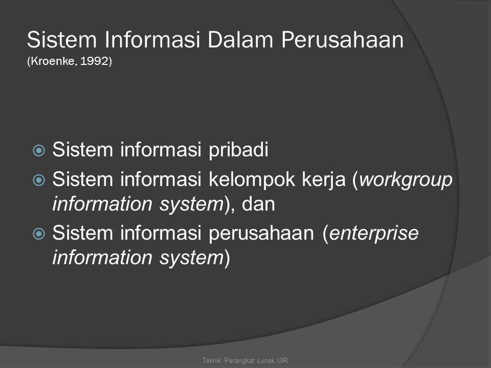 Sistem Informasi Dalam Perusahaan (Kroenke, 1992)  Sistem informasi pribadi  Sistem informasi kelompok kerja (workgroup information system), dan  Sistem informasi perusahaan (enterprise information system) Teknik Perangkat Lunak UIR