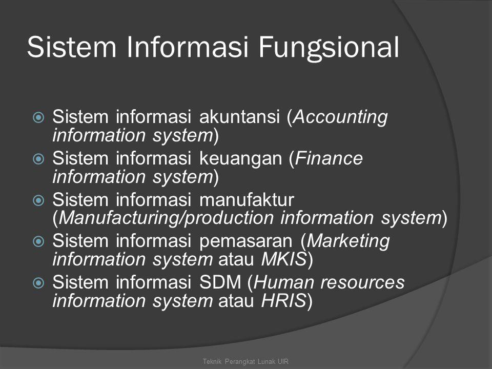 Sistem Informasi Fungsional  Sistem informasi akuntansi (Accounting information system)  Sistem informasi keuangan (Finance information system)  Si
