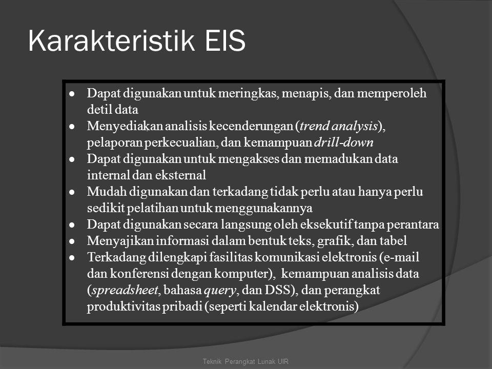 Karakteristik EIS Teknik Perangkat Lunak UIR.  Dapat digunakan untuk meringkas, menapis, dan memperoleh detil data  Menyediakan analisis kecenderung