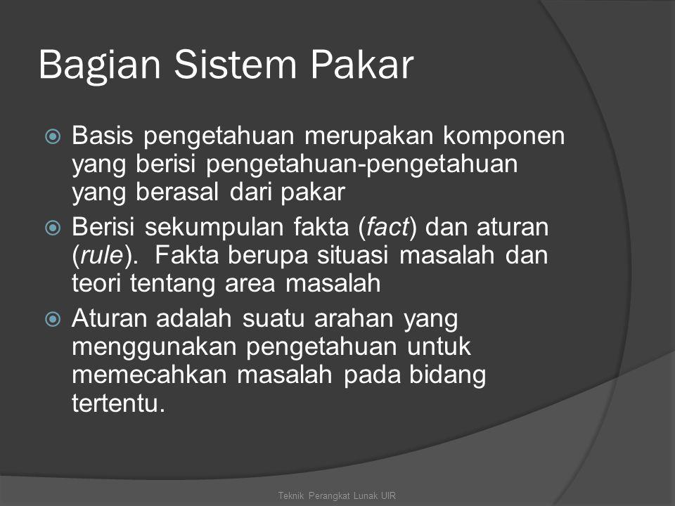 Bagian Sistem Pakar  Basis pengetahuan merupakan komponen yang berisi pengetahuan-pengetahuan yang berasal dari pakar  Berisi sekumpulan fakta (fact) dan aturan (rule).