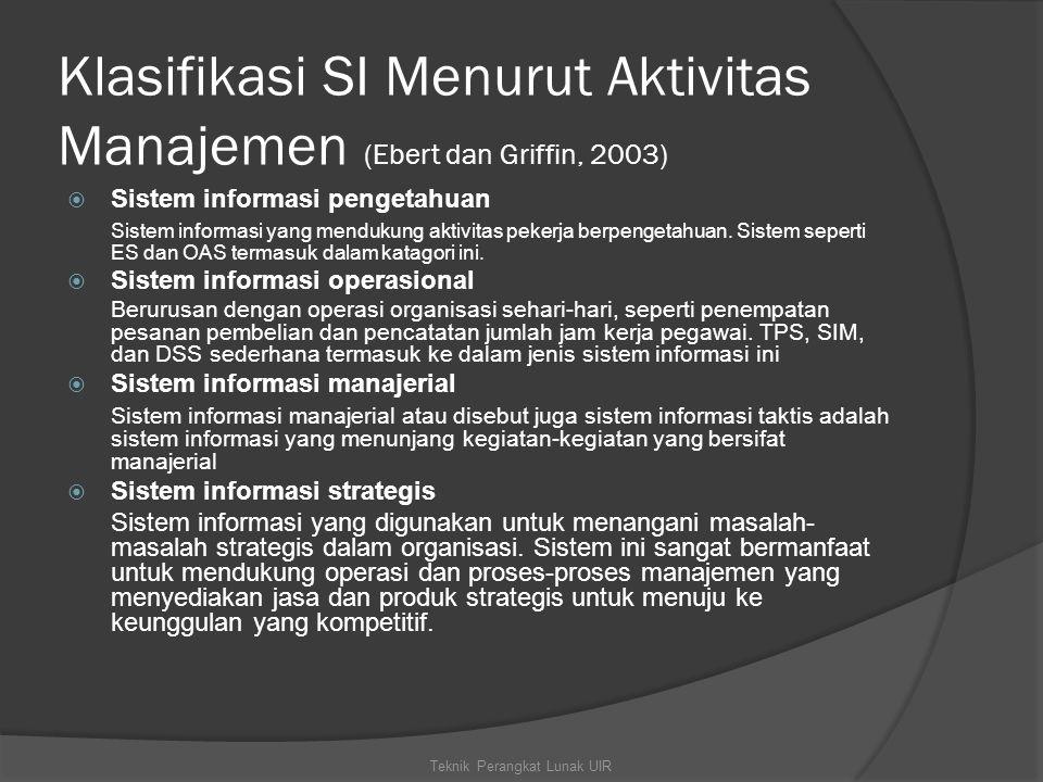 Klasifikasi SI Menurut Aktivitas Manajemen (Ebert dan Griffin, 2003)  Sistem informasi pengetahuan Sistem informasi yang mendukung aktivitas pekerja berpengetahuan.