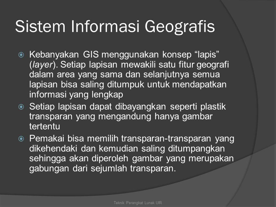 """Sistem Informasi Geografis  Kebanyakan GIS menggunakan konsep """"lapis"""" (layer). Setiap lapisan mewakili satu fitur geografi dalam area yang sama dan s"""