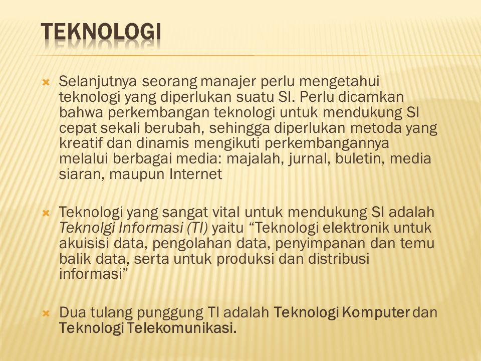  Selanjutnya seorang manajer perlu mengetahui teknologi yang diperlukan suatu SI. Perlu dicamkan bahwa perkembangan teknologi untuk mendukung SI cepa