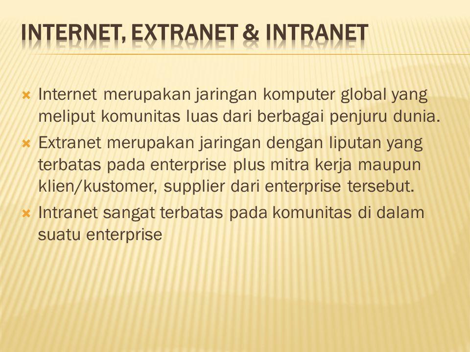  Internet merupakan jaringan komputer global yang meliput komunitas luas dari berbagai penjuru dunia.  Extranet merupakan jaringan dengan liputan ya
