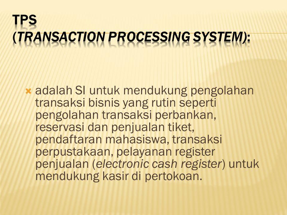  adalah SI untuk mendukung pengolahan transaksi bisnis yang rutin seperti pengolahan transaksi perbankan, reservasi dan penjualan tiket, pendaftaran
