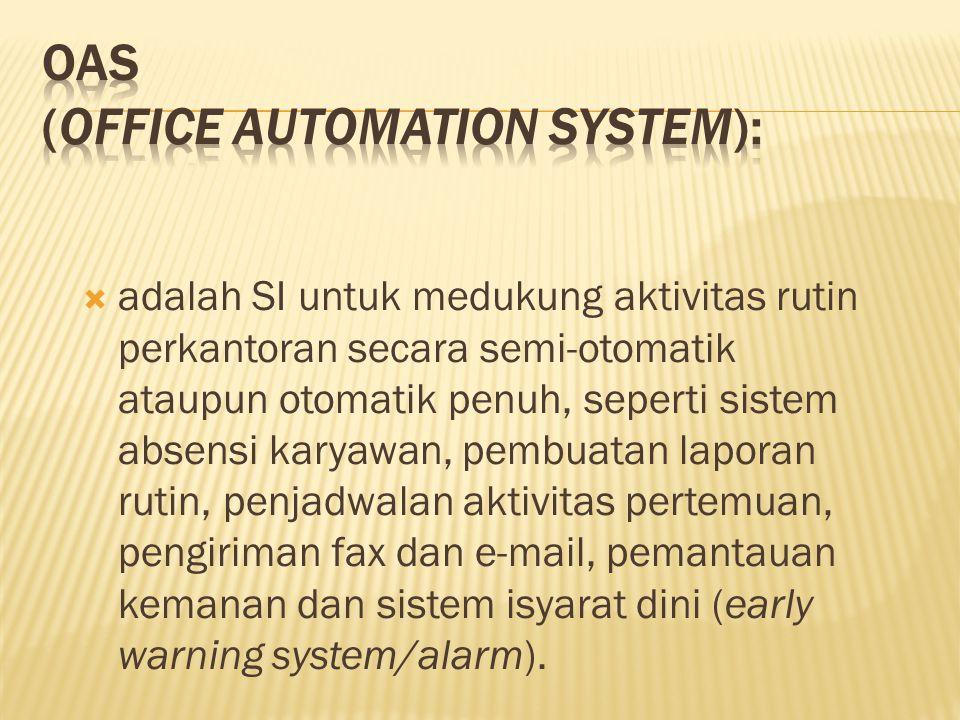  adalah SI untuk medukung aktivitas rutin perkantoran secara semi-otomatik ataupun otomatik penuh, seperti sistem absensi karyawan, pembuatan laporan rutin, penjadwalan aktivitas pertemuan, pengiriman fax dan e-mail, pemantauan kemanan dan sistem isyarat dini (early warning system/alarm).