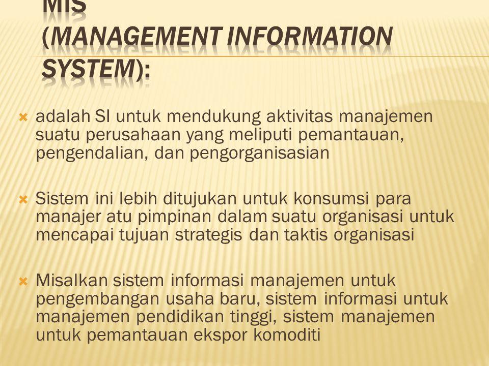  adalah SI untuk mendukung aktivitas manajemen suatu perusahaan yang meliputi pemantauan, pengendalian, dan pengorganisasian  Sistem ini lebih dituj