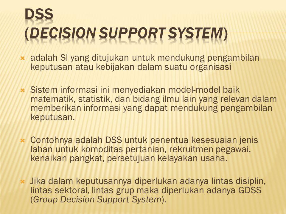  adalah SI yang ditujukan untuk mendukung pengambilan keputusan atau kebijakan dalam suatu organisasi  Sistem informasi ini menyediakan model-model baik matematik, statistik, dan bidang ilmu lain yang relevan dalam memberikan informasi yang dapat mendukung pengambilan keputusan.