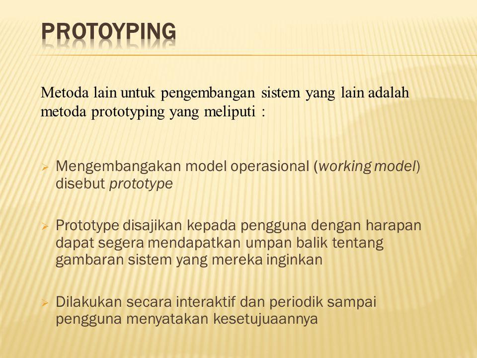  Mengembangakan model operasional (working model) disebut prototype  Prototype disajikan kepada pengguna dengan harapan dapat segera mendapatkan umpan balik tentang gambaran sistem yang mereka inginkan  Dilakukan secara interaktif dan periodik sampai pengguna menyatakan kesetujuaannya Metoda lain untuk pengembangan sistem yang lain adalah metoda prototyping yang meliputi :