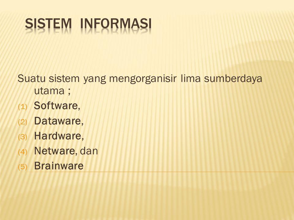 Suatu sistem yang mengorganisir lima sumberdaya utama ; (1) Software, (2) Dataware, (3) Hardware, (4) Netware, dan (5) Brainware