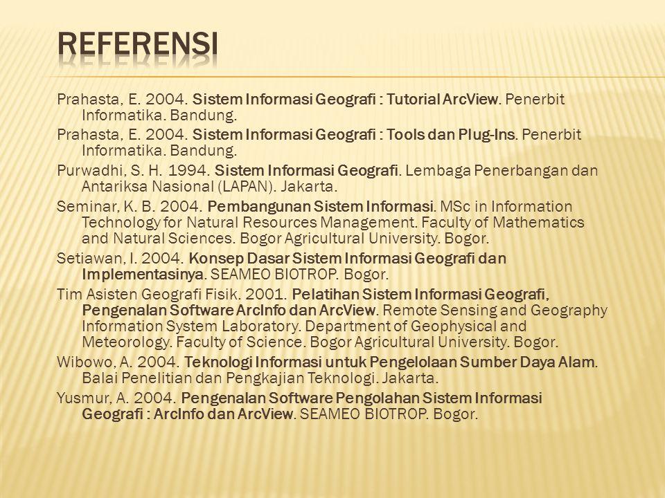 Prahasta, E. 2004. Sistem Informasi Geografi : Tutorial ArcView. Penerbit Informatika. Bandung. Prahasta, E. 2004. Sistem Informasi Geografi : Tools d