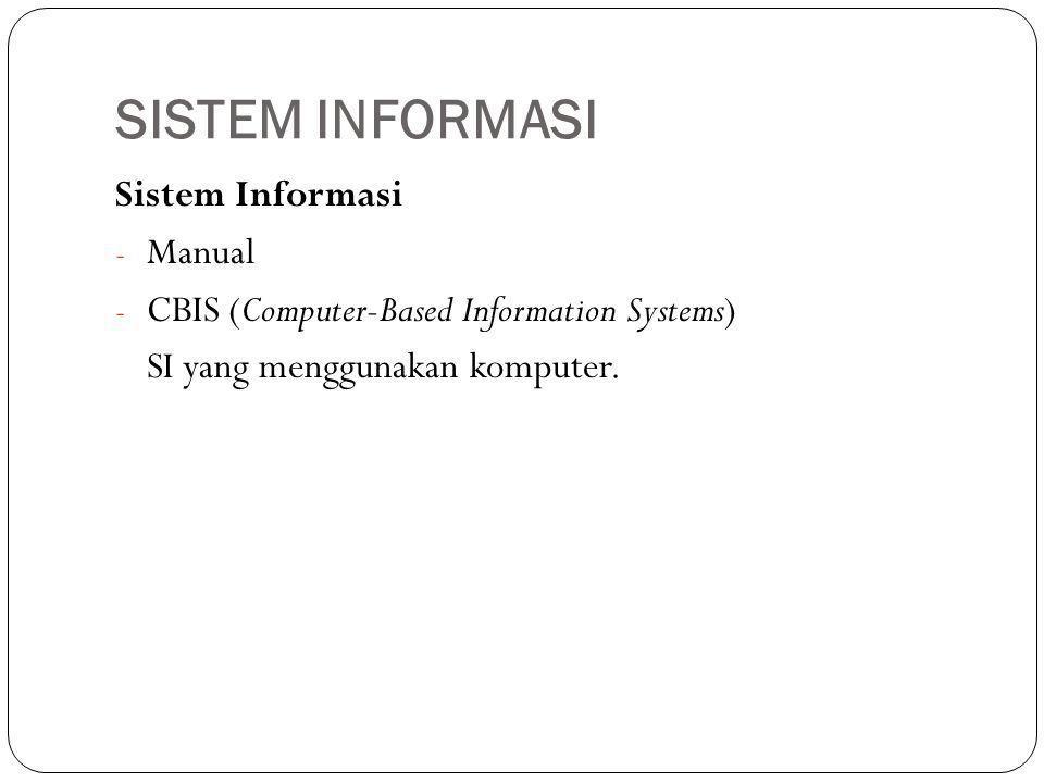 SISTEM INFORMASI Sistem Informasi - Manual - CBIS (Computer-Based Information Systems) SI yang menggunakan komputer.