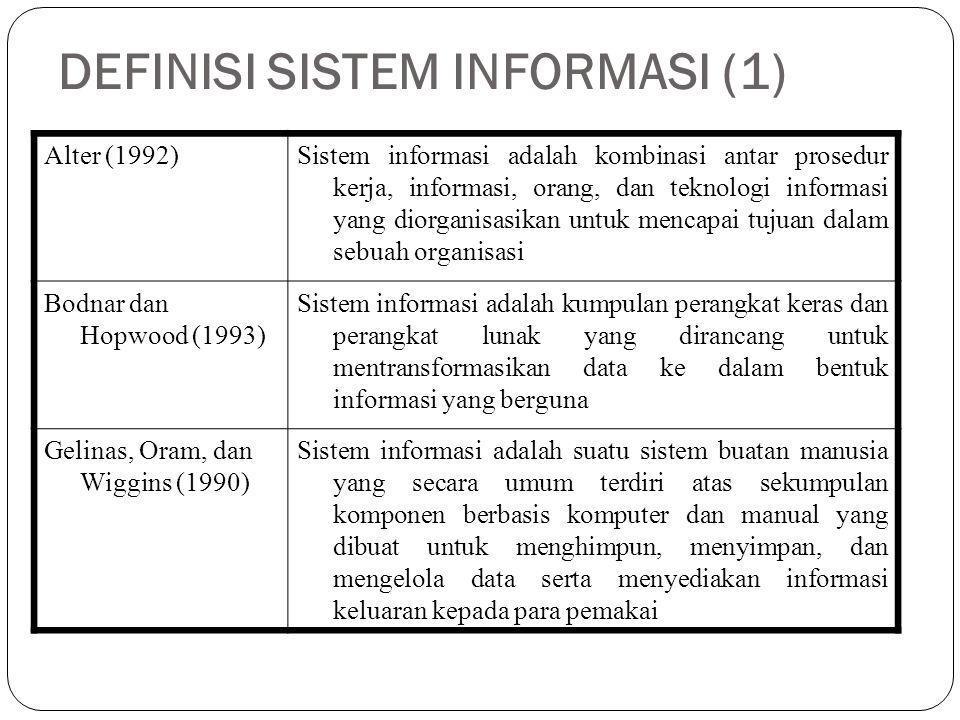 DEFINISI SISTEM INFORMASI (1) Alter (1992)Sistem informasi adalah kombinasi antar prosedur kerja, informasi, orang, dan teknologi informasi yang diorg