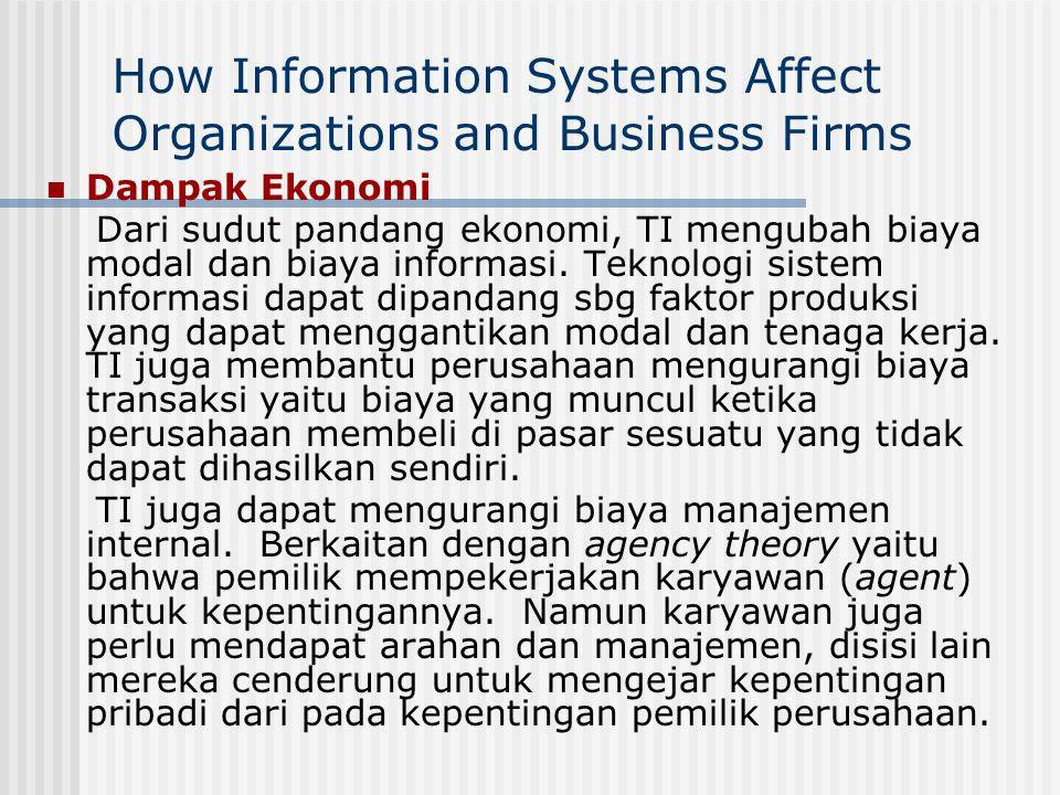 How Information Systems Affect Organizations and Business Firms Dampak Ekonomi Dari sudut pandang ekonomi, TI mengubah biaya modal dan biaya informasi