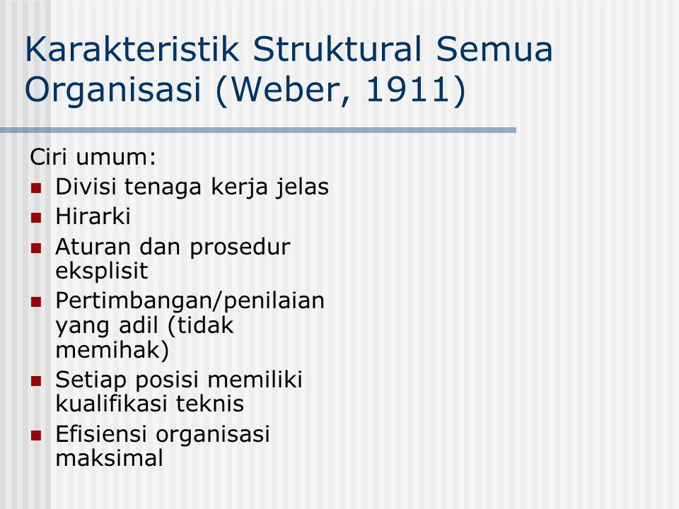Karakteristik Struktural Semua Organisasi (Weber, 1911) Ciri umum: Divisi tenaga kerja jelas Hirarki Aturan dan prosedur eksplisit Pertimbangan/penila