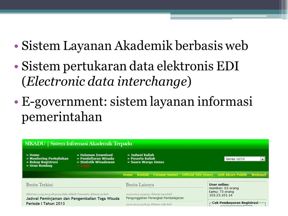 Sistem Layanan Akademik berbasis web Sistem pertukaran data elektronis EDI (Electronic data interchange) E-government: sistem layanan informasi pemeri
