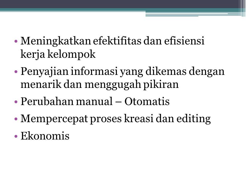 Meningkatkan efektifitas dan efisiensi kerja kelompok Penyajian informasi yang dikemas dengan menarik dan menggugah pikiran Perubahan manual – Otomatis Mempercepat proses kreasi dan editing Ekonomis