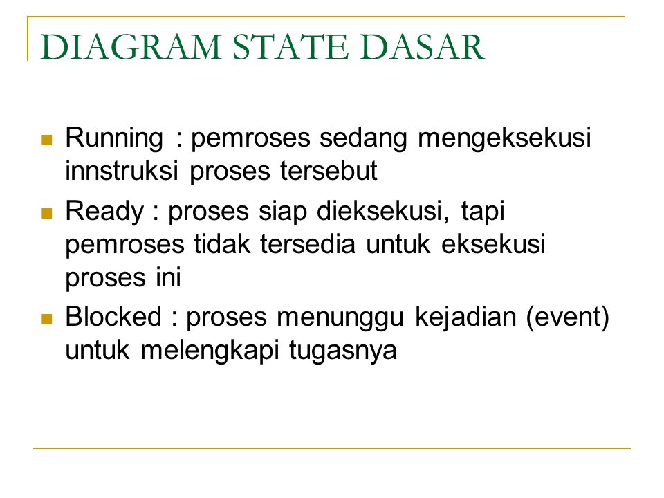 DIAGRAM STATE DASAR Running : pemroses sedang mengeksekusi innstruksi proses tersebut Ready : proses siap dieksekusi, tapi pemroses tidak tersedia untuk eksekusi proses ini Blocked : proses menunggu kejadian (event) untuk melengkapi tugasnya