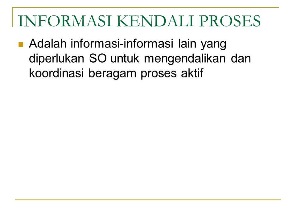 INFORMASI KENDALI PROSES Adalah informasi-informasi lain yang diperlukan SO untuk mengendalikan dan koordinasi beragam proses aktif