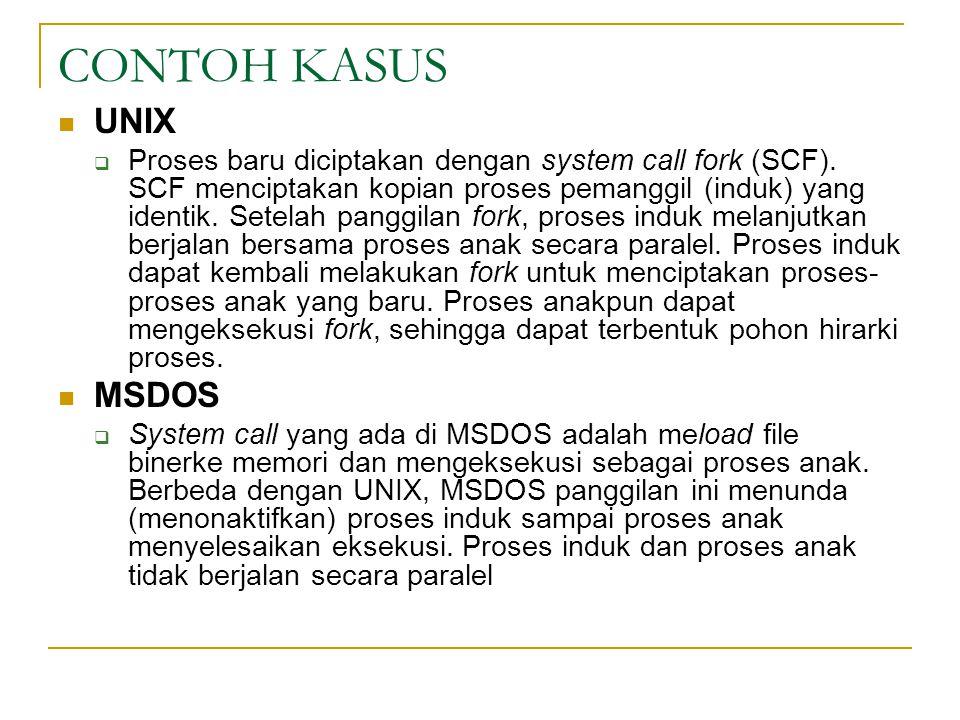 CONTOH KASUS UNIX  Proses baru diciptakan dengan system call fork (SCF).
