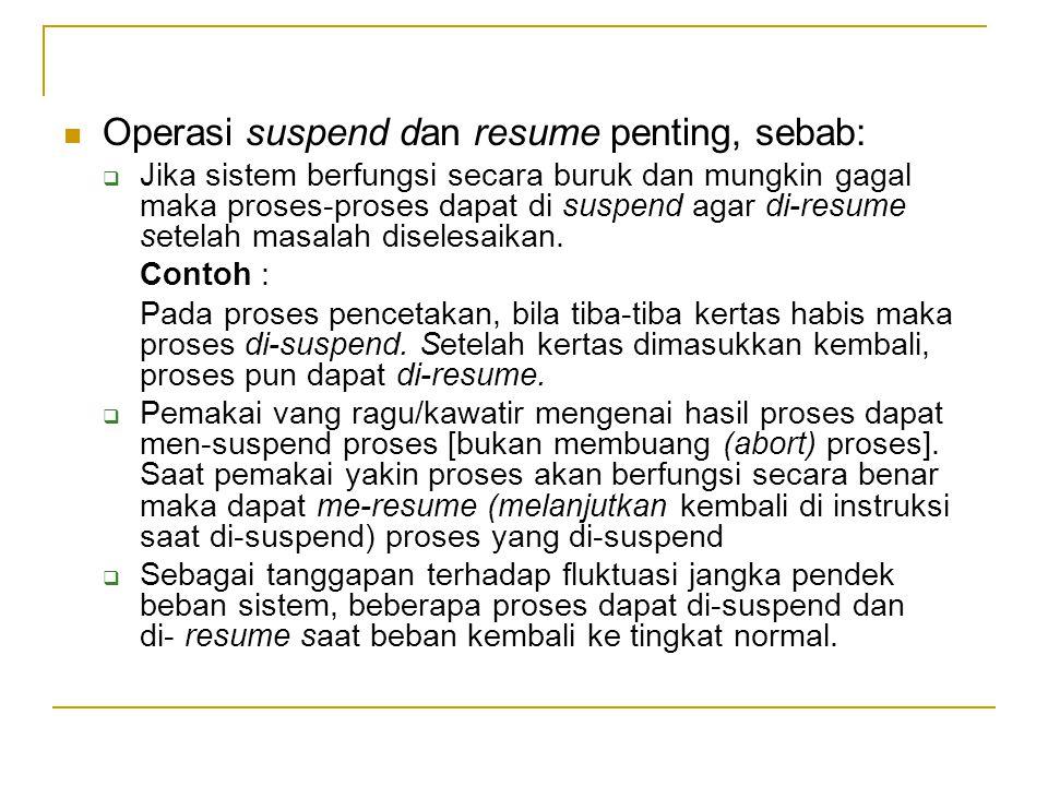 Operasi suspend dan resume penting, sebab:  Jika sistem berfungsi secara buruk dan mungkin gagal maka proses ‑ proses dapat di suspend agar di ‑ resume setelah masalah diselesaikan.