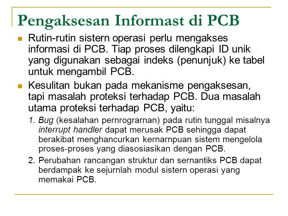 Pengaksesan Informast di PCB Rutin ‑ rutin sistern operasi perlu mengakses informasi di PCB.