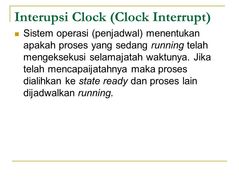 Interupsi Clock (Clock Interrupt) Sistem operasi (penjadwal) menentukan apakah proses yang sedang running telah mengeksekusi selamajatah waktunya.