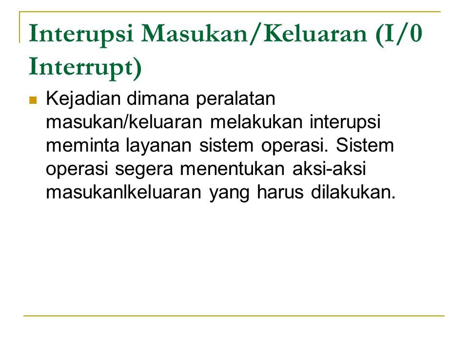 Interupsi Masukan/Keluaran (I/0 Interrupt) Kejadian dimana peralatan masukan/keluaran melakukan interupsi meminta layanan sistem operasi.