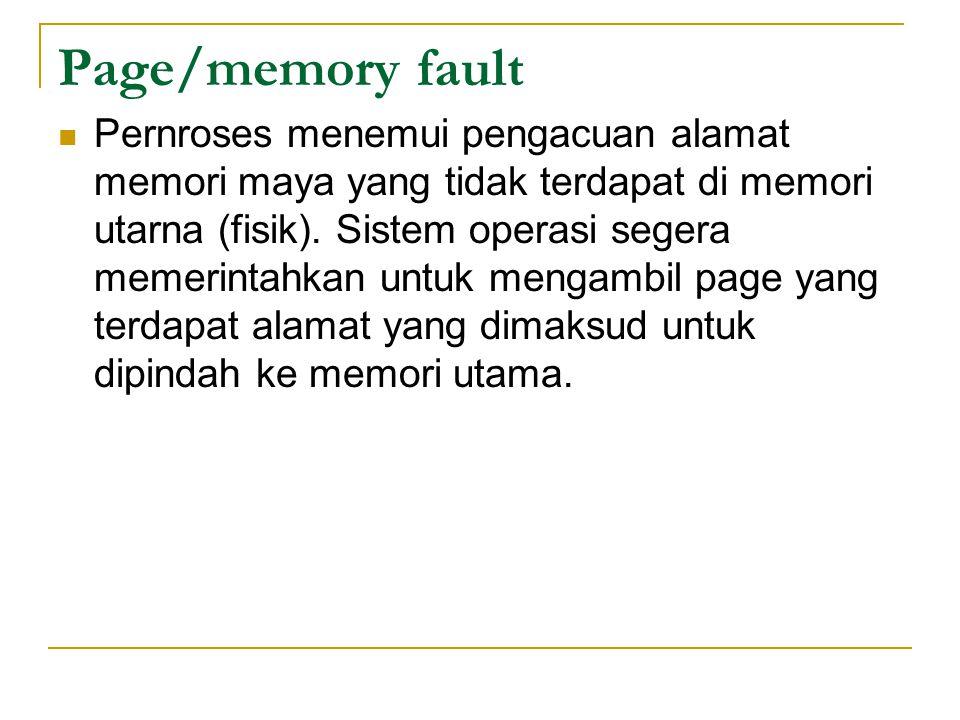 Page/memory fault Pernroses menemui pengacuan alamat memori maya yang tidak terdapat di memori utarna (fisik).