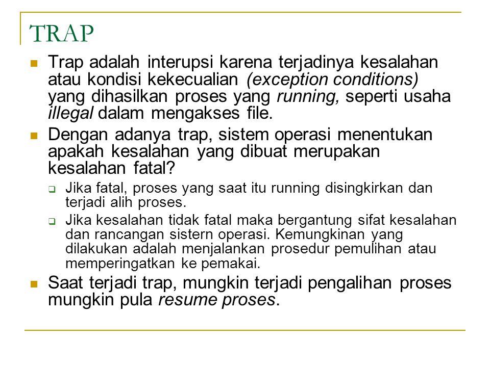 TRAP Trap adalah interupsi karena terjadinya kesalahan atau kondisi kekecualian (exception conditions) yang dihasilkan proses yang running, seperti usaha illegal dalam mengakses file.