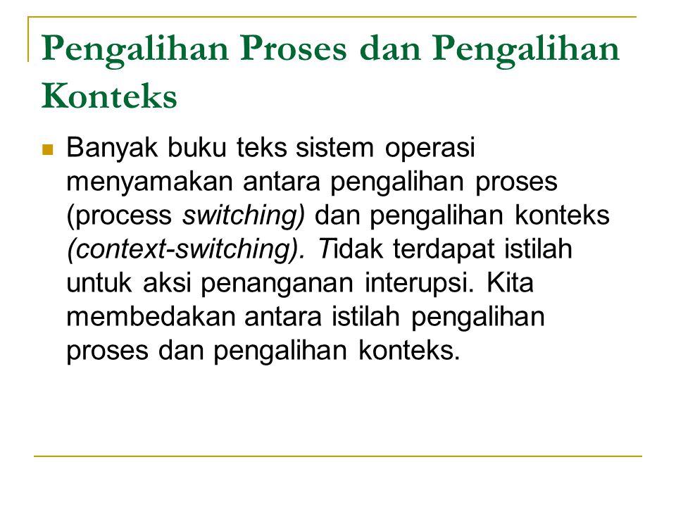 Pengalihan Proses dan Pengalihan Konteks Banyak buku teks sistem operasi menyamakan antara pengalihan proses (process switching) dan pengalihan konteks (context ‑ switching).