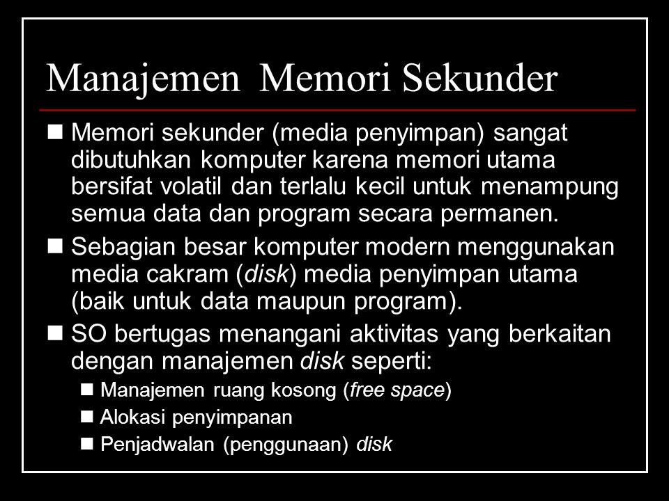 Manajemen Memori Sekunder Memori sekunder (media penyimpan) sangat dibutuhkan komputer karena memori utama bersifat volatil dan terlalu kecil untuk menampung semua data dan program secara permanen.