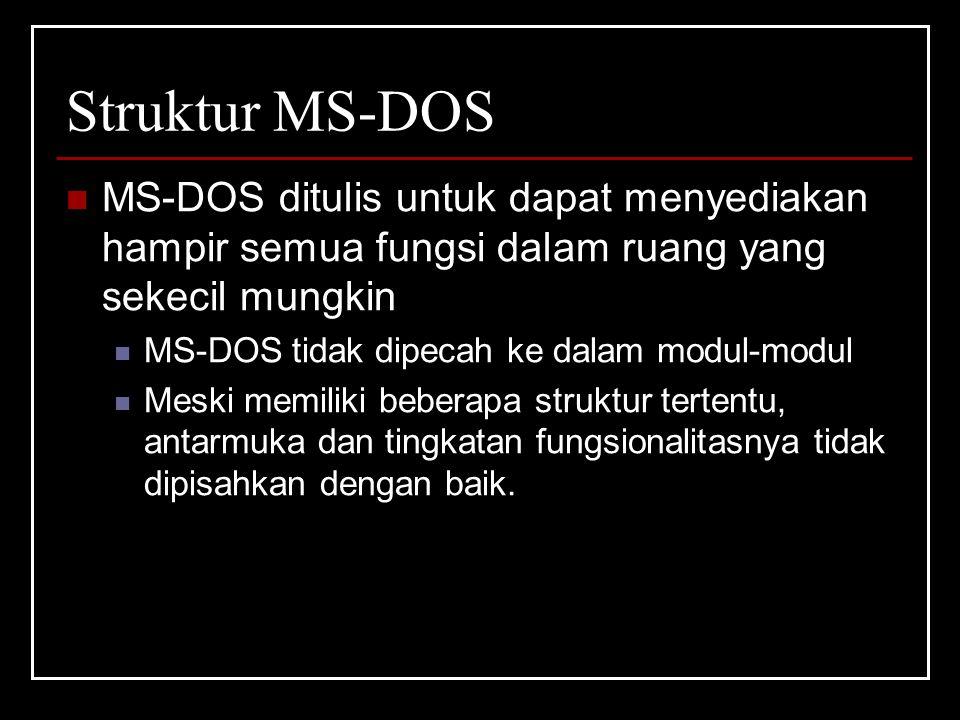 Struktur MS-DOS MS-DOS ditulis untuk dapat menyediakan hampir semua fungsi dalam ruang yang sekecil mungkin MS-DOS tidak dipecah ke dalam modul-modul Meski memiliki beberapa struktur tertentu, antarmuka dan tingkatan fungsionalitasnya tidak dipisahkan dengan baik.