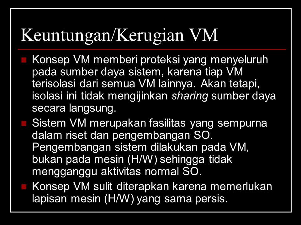 Keuntungan/Kerugian VM Konsep VM memberi proteksi yang menyeluruh pada sumber daya sistem, karena tiap VM terisolasi dari semua VM lainnya.