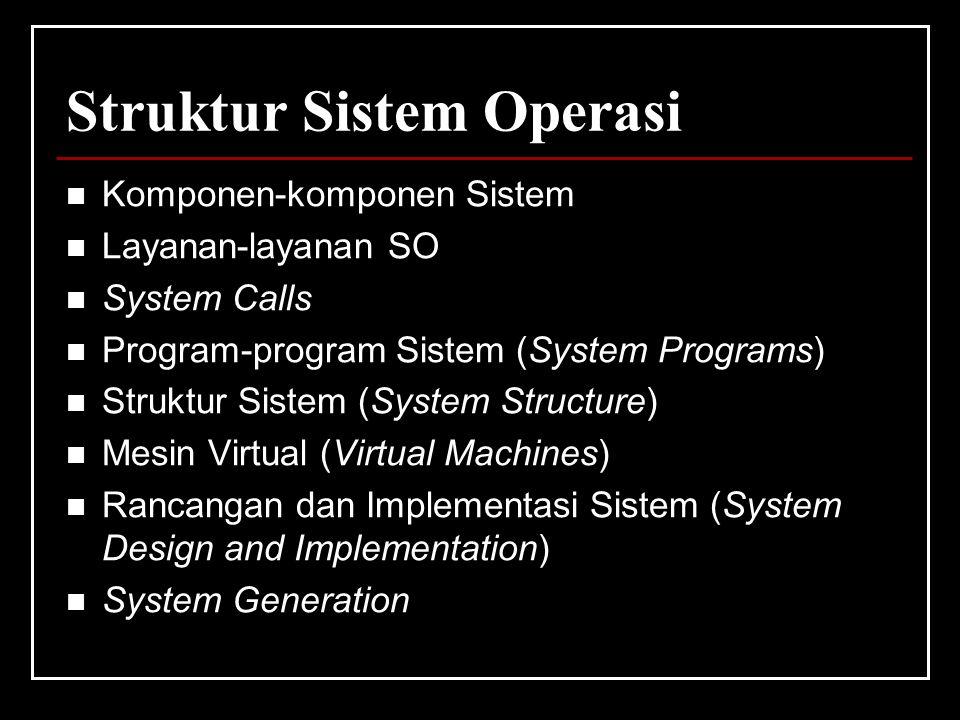 Struktur Sistem Operasi Komponen-komponen Sistem Layanan-layanan SO System Calls Program-program Sistem (System Programs) Struktur Sistem (System Structure) Mesin Virtual (Virtual Machines) Rancangan dan Implementasi Sistem (System Design and Implementation) System Generation