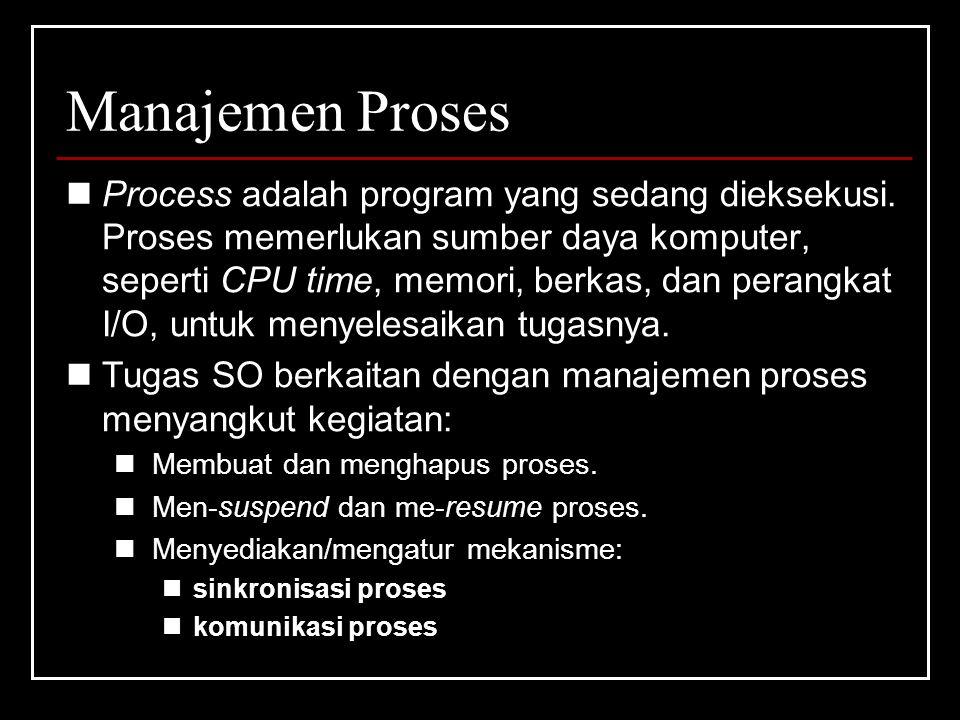 Manajemen Proses Process adalah program yang sedang dieksekusi.