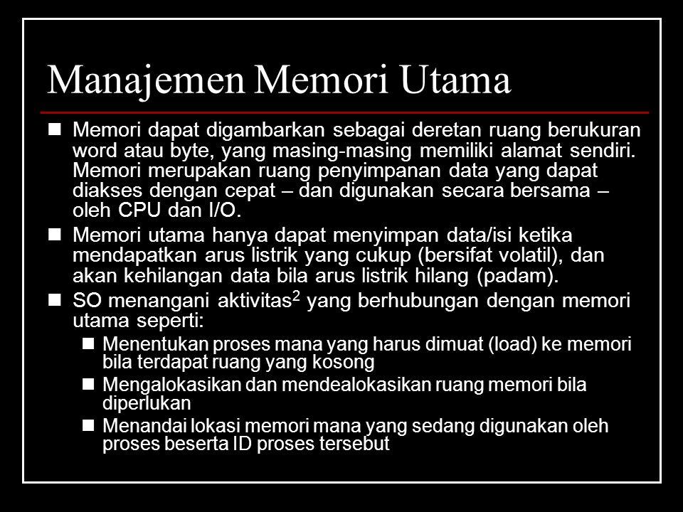 Manajemen Memori Utama Memori dapat digambarkan sebagai deretan ruang berukuran word atau byte, yang masing-masing memiliki alamat sendiri.