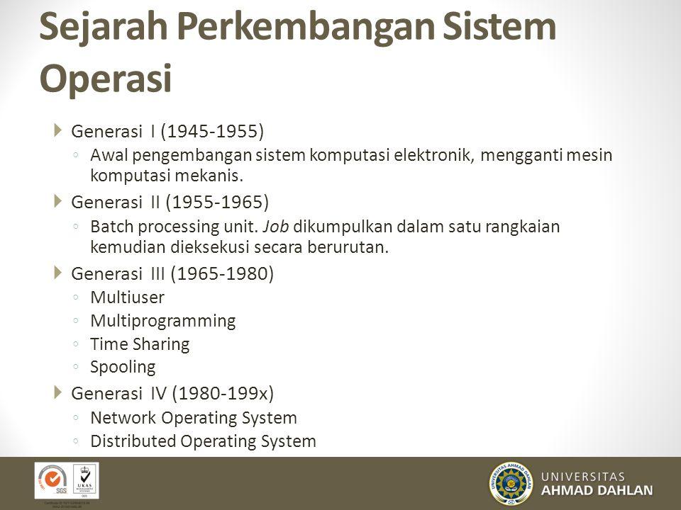 Sejarah Perkembangan Sistem Operasi  Generasi I (1945-1955) ◦ Awal pengembangan sistem komputasi elektronik, mengganti mesin komputasi mekanis.  Gen