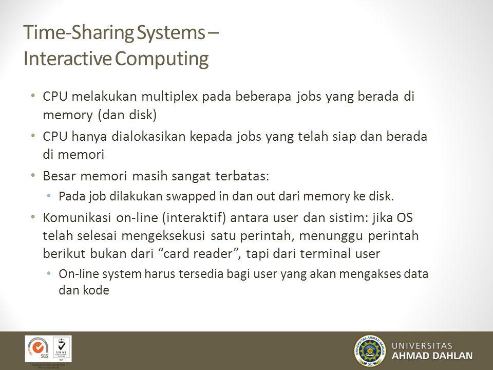 Time-Sharing Systems – Interactive Computing CPU melakukan multiplex pada beberapa jobs yang berada di memory (dan disk) CPU hanya dialokasikan kepada