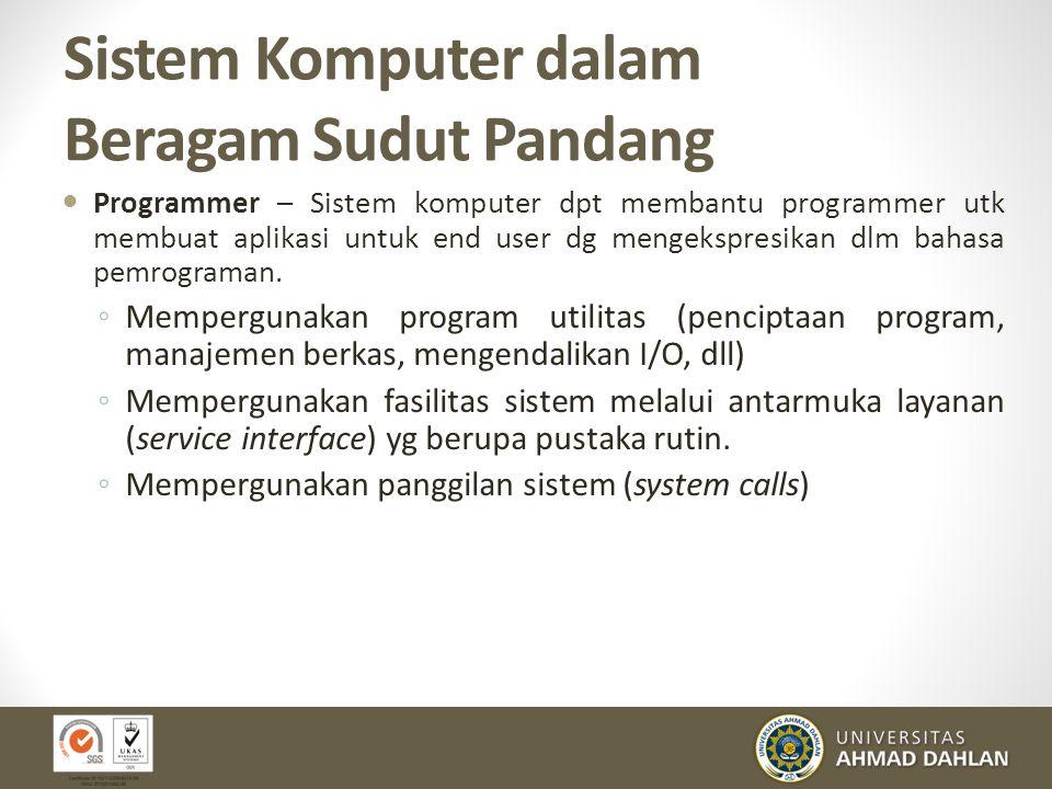 Sistem Komputer dalam Beragam Sudut Pandang Programmer – Sistem komputer dpt membantu programmer utk membuat aplikasi untuk end user dg mengekspresika