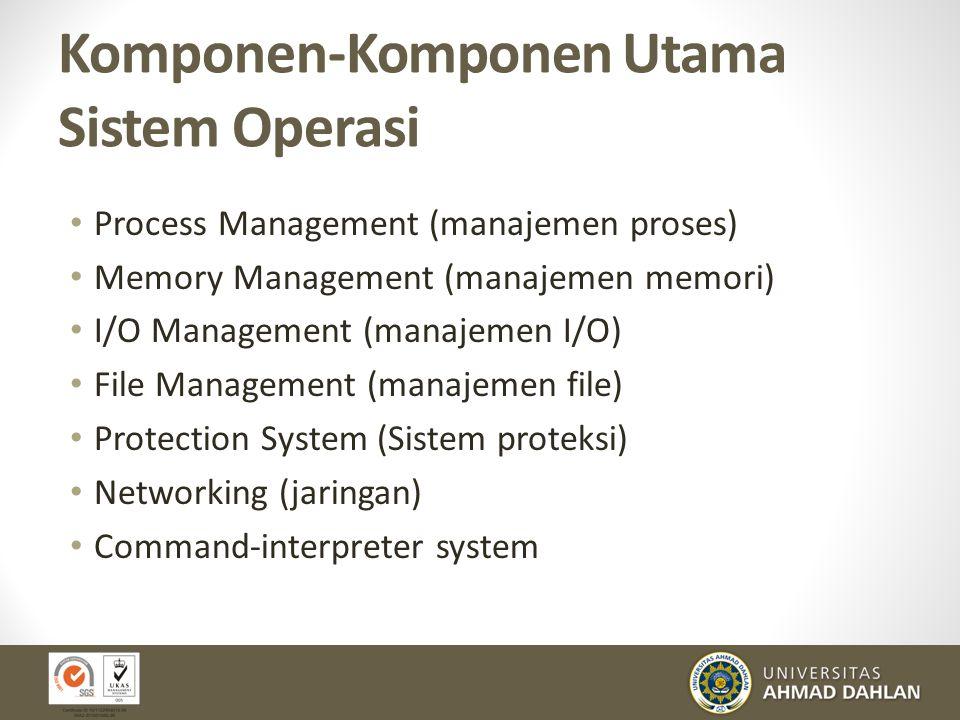 Komponen-Komponen Utama Sistem Operasi Process Management (manajemen proses) Memory Management (manajemen memori) I/O Management (manajemen I/O) File