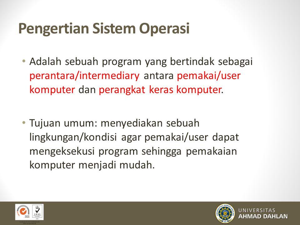 Pengertian Sistem Operasi Adalah sebuah program yang bertindak sebagai perantara/intermediary antara pemakai/user komputer dan perangkat keras kompute