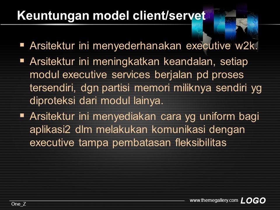 LOGO One_Z www.themegallery.com Keuntungan model client/servet  Arsitektur ini menyederhanakan executive w2k.