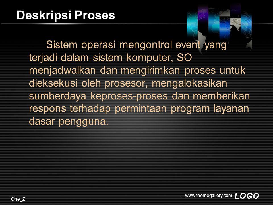 LOGO One_Z www.themegallery.com Deskripsi Proses Sistem operasi mengontrol event yang terjadi dalam sistem komputer, SO menjadwalkan dan mengirimkan proses untuk dieksekusi oleh prosesor, mengalokasikan sumberdaya keproses-proses dan memberikan respons terhadap permintaan program layanan dasar pengguna.