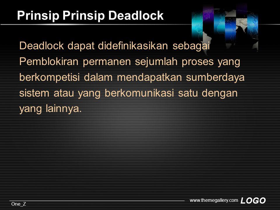 LOGO One_Z www.themegallery.com Prinsip Prinsip Deadlock Deadlock dapat didefinikasikan sebagai Pemblokiran permanen sejumlah proses yang berkompetisi dalam mendapatkan sumberdaya sistem atau yang berkomunikasi satu dengan yang lainnya.