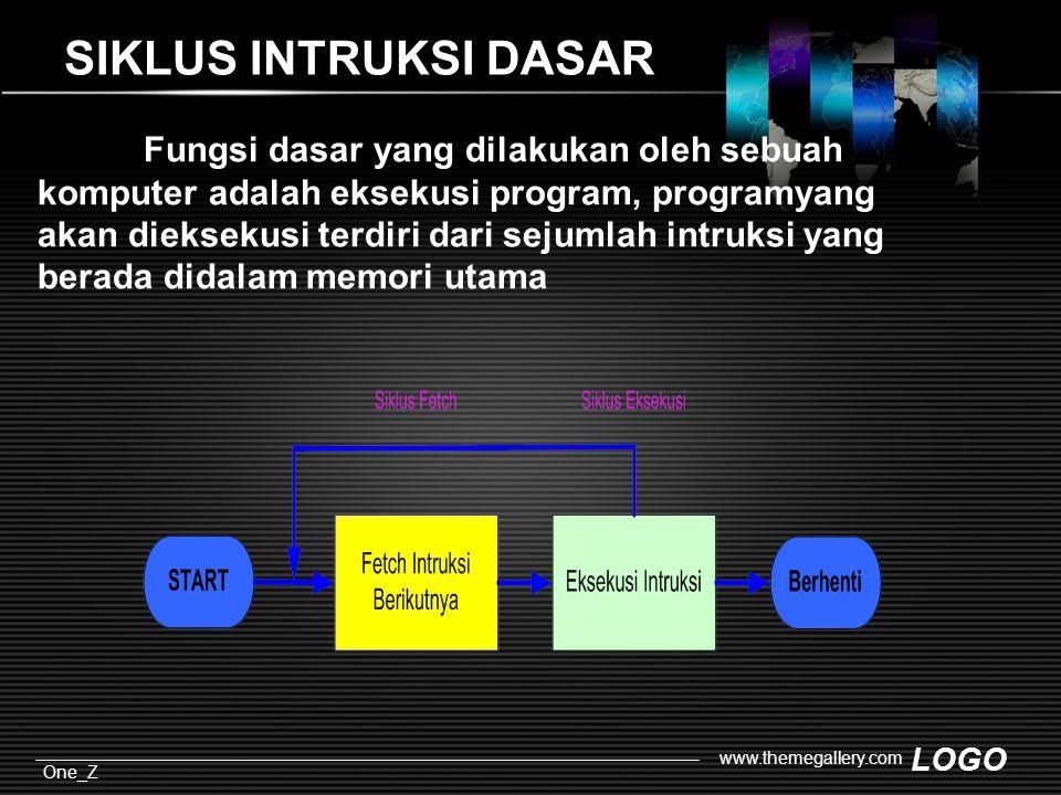 LOGO One_Z www.themegallery.com SIKLUS INTRUKSI DASAR Fungsi dasar yang dilakukan oleh sebuah komputer adalah eksekusi program, programyang akan dieksekusi terdiri dari sejumlah intruksi yang berada didalam memori utama