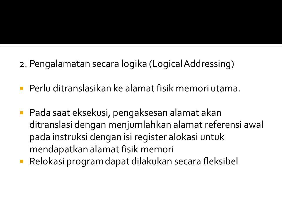 2. Pengalamatan secara logika (Logical Addressing)  Perlu ditranslasikan ke alamat fisik memori utama.  Pada saat eksekusi, pengaksesan alamat akan