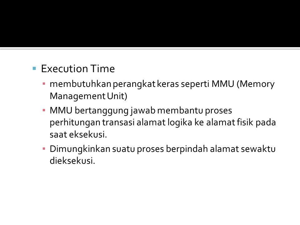  Execution Time ▪ membutuhkan perangkat keras seperti MMU (Memory Management Unit) ▪ MMU bertanggung jawab membantu proses perhitungan transasi alama