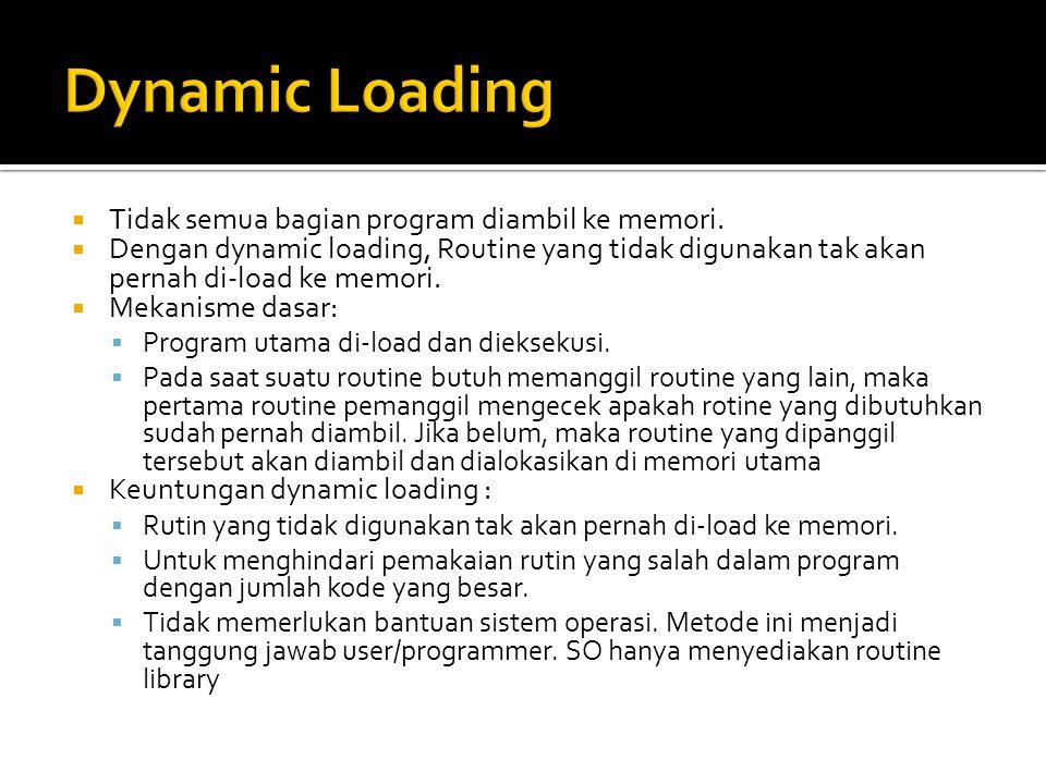  Tidak semua bagian program diambil ke memori.  Dengan dynamic loading, Routine yang tidak digunakan tak akan pernah di-load ke memori.  Mekanisme