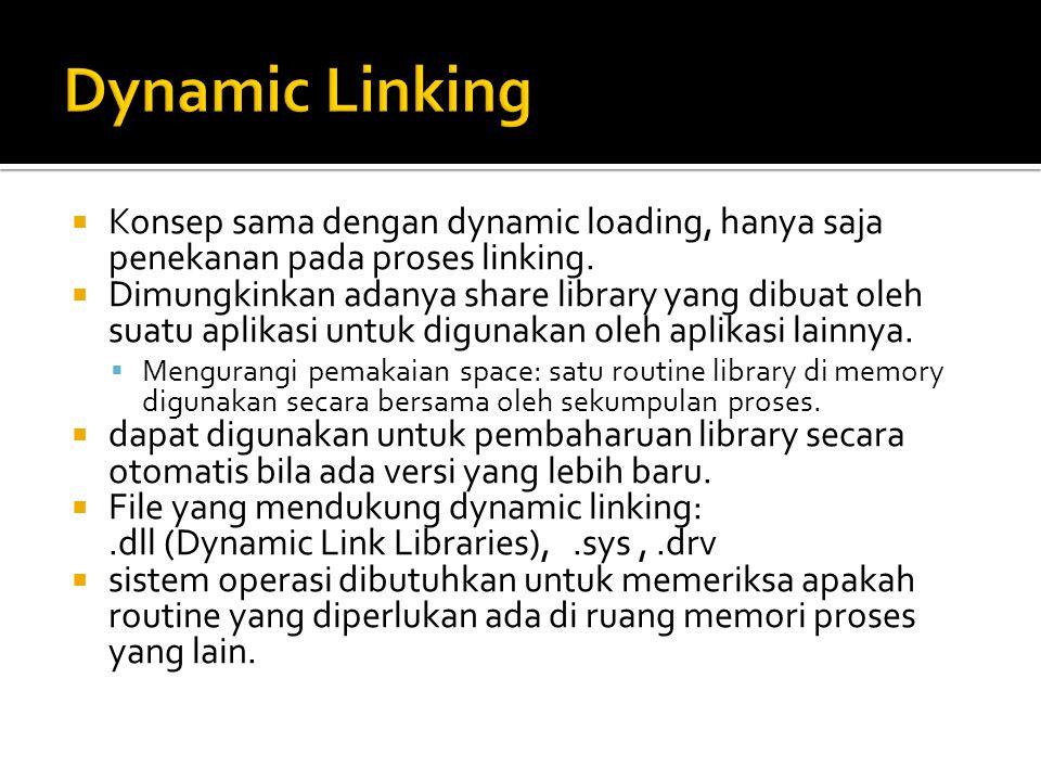  Konsep sama dengan dynamic loading, hanya saja penekanan pada proses linking.  Dimungkinkan adanya share library yang dibuat oleh suatu aplikasi un